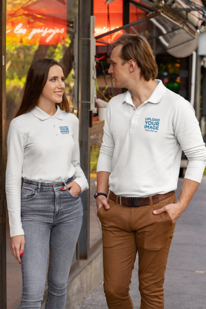 Long Sleeve Polo Shirt Mockup of a Couple on the Street 33471