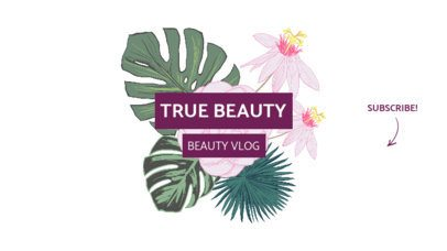 Beauty Channel YouTube Banner Design Template with Floral Graphics 947-el1
