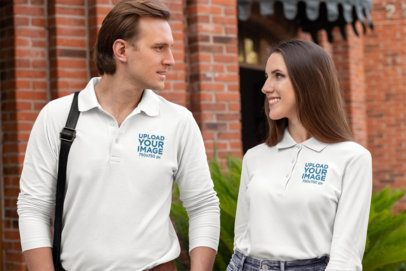 Mockup of Two Friends Wearing Long-Sleeve Polo Shirts 33480