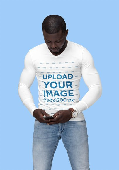 Mockup of a Muscular Man Wearing a Fitted Long Sleeve Tee 1811-el1