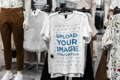 Mockup of a T-Shirt Hanging on a Store's Rack 3702-el1