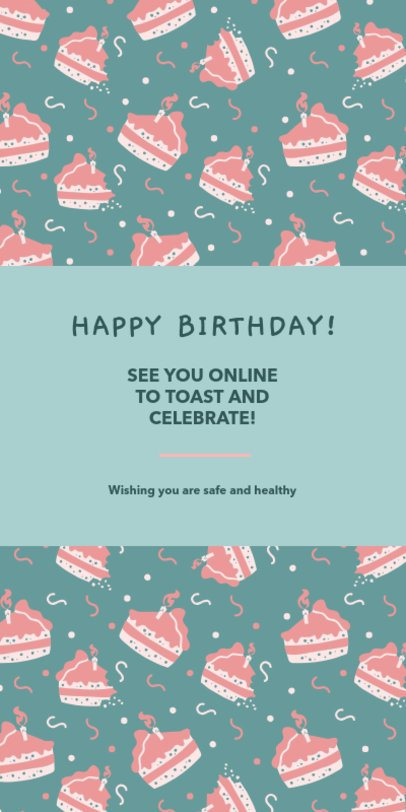 Greeting Card Template for an Online Birthday Celebration 1586j-2479