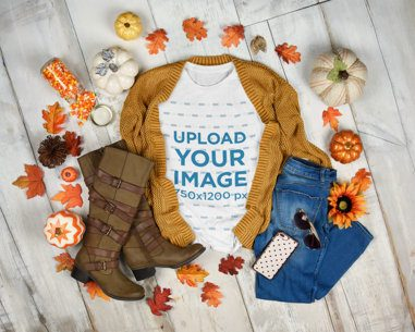 T-Shirt Mockup Featuring a Warm Autumn Outfit 3744-el1