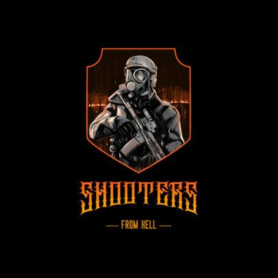 Gaming Logo Creator Featuring Illustrations of Shooter Characters 3183