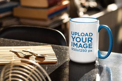 Mockup of a Customizable Inner Rim Mug Placed on a Desk 33665