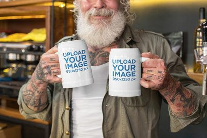 Mockup of a Smiling Senior Man Holding Two 20 oz Beer Steins 33459
