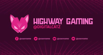 Cool Twitch Banner Maker for Gamers Featuring a Neon Grid and a Cat Graphic 2469l