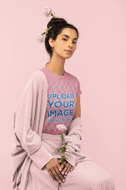 Monochromatic T-Shirt of a Woman Holding Some Roses 32784