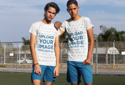 Mockup of Two Soccer Players Wearing Team Jerseys 33580