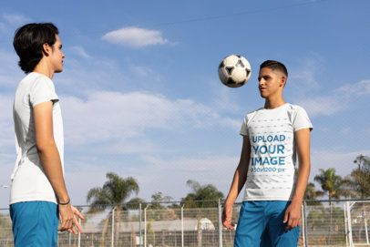 Jersey Mockup of Two Boys Playing Soccer at a Field 33583