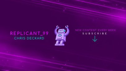 YouTube Banner Template with a Robot Clipart 2470m
