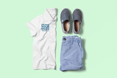 Polo Shirt Mockup of a Boy's Outfit in a Flat Lay Style 3010-el1