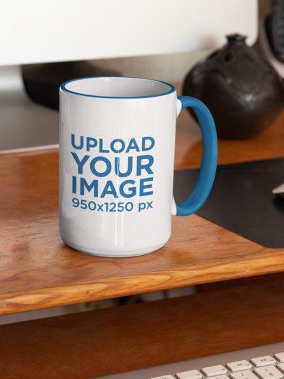 Mockup of a 15 oz Coffee Mug with Inner Rim on a Desk 33806