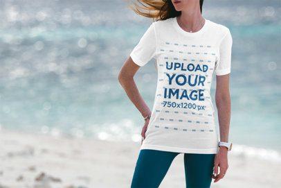 T-Shirt Mockup Featuring a Woman at the Beach 3326-el1