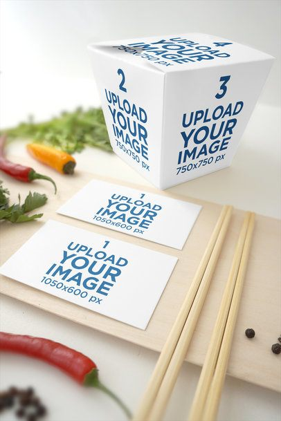 Food Box Mockup Featuring Two Customizable Business Cards 4002-el1