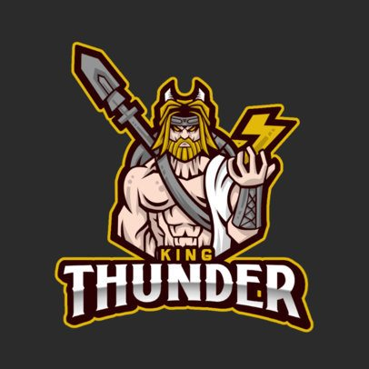 Illustrated Gaming Logo Template Featuring a Strong God of Thunder 1215a-el1