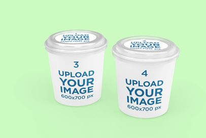 Delivery Mockup Featuring Two Customizable Food Cups 4007-el1