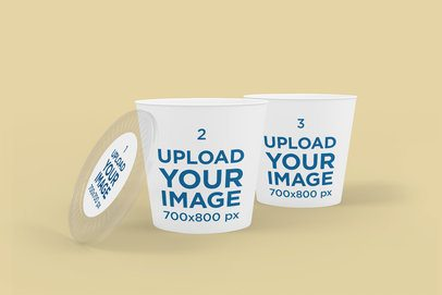 Food Delivery Mockups Featuring Two Large Paper Cups With a Customizable Lid 4013-el1