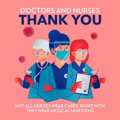 Facebook Post Maker Featuring Illustrations of Hero Doctors 2504