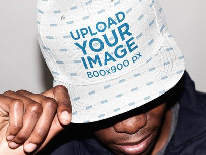 Mockup of a Man with a Sublimated Snapback Hat On 35708