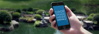 iPhone 5S Mockup Featuring a Chinese Pond 77177w