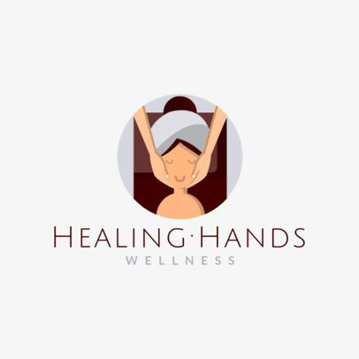 Spa Center Logo Template Featuring a Woman Getting a Massage 1304b-el1