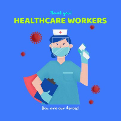Facebook Post Maker with a Thankful Message for Healthcare Workers 2504g