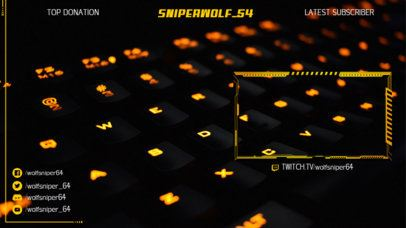 Twitch Stream Overlay Template Featuring the Picture of a Gaming Keyboard as Background 2512c
