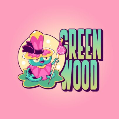 Logo Creator with a Silly Wizard Frog Cartoon 3236a