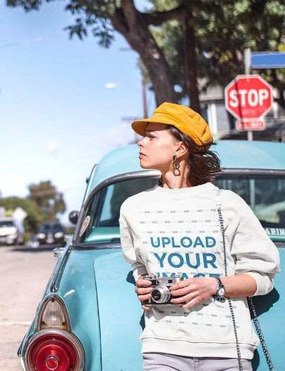Sweatshirt Mockup of a Woman Posing by an Old Car 34158-r-el2