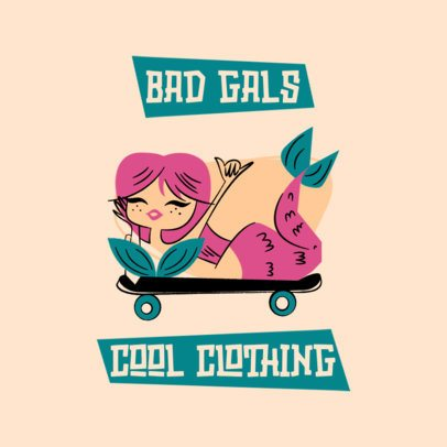 Clothing Brand Logo Creator with a Cartoonish Mermaid 3227c