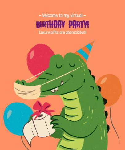 Birthday Party T-Shirt Design Creator with a Happy Crocodile Illustration 2528l