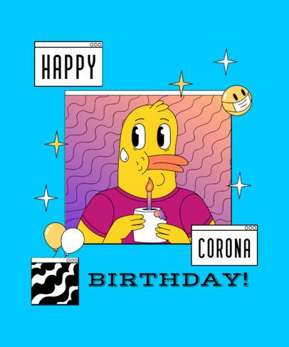 T-Shirt Design Maker Featuring a Birthday Duck Illustration 2529k