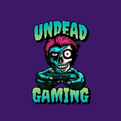 Gaming Logo Template Featuring a Bizarre Zombie Illustration 3266j