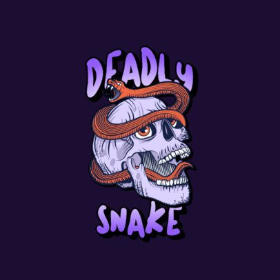 Logo Generator for Clothing Brands with an Illustration of a Skull and a Snake 3266n
