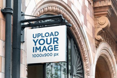 Mockup of an Outdoor Sign Placed on an Antique Building 4113-el1