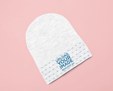 Garment Only Mockup of a Beanie on a Colored Surface 25520