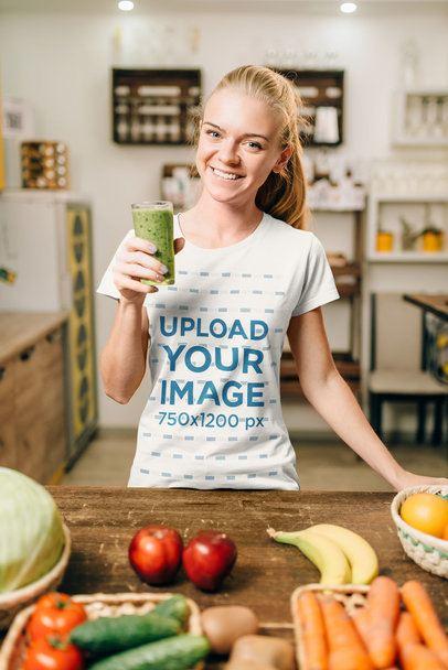 T-Shirt Mockup of a Woman Drinking a Green Juice 34697-r-el2