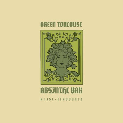 Absinthe Bar Logo Template Featuring an Art Nouveau Style Graphic 3281f