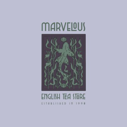 Tea Shop Logo Maker Featuring Fish Illustration Inspired by Art Nouveau 3281h