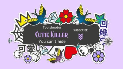 YouTube Banner Template with a Kawaii Theme for a Girly Gamer 2536g
