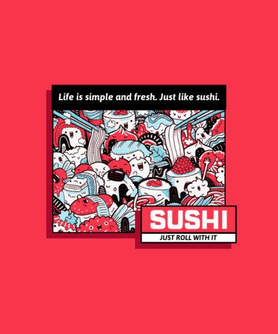 T-Shirt Design Template with Cartoonish Sushi Characters 1582a-el1