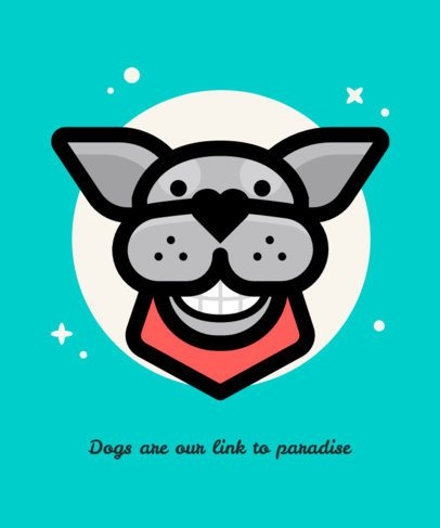 T-Shirt Design Template with a Funny Dog with a Smile on its Face 1546b-el1