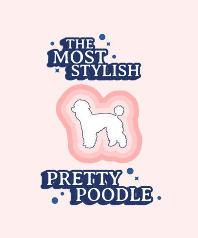 T-Shirt Design Template with a Groovy Poodle Icon 1554a-el1