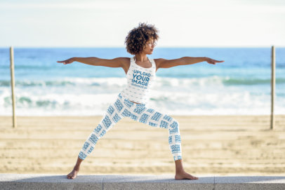 Tank Top Mockup of a Woman in Leggings Doing Yoga at the Beach 34694-r-el2