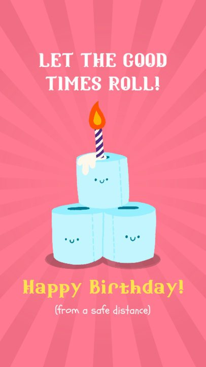 Instagram Story Generator Featuring a Birthday Wish with Funny Toilet Paper Cartoons 2548b