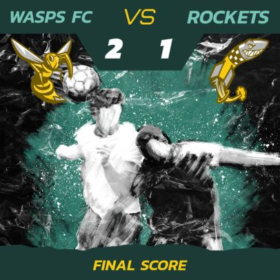 Instagram Post Template for Virtual Soccer League Scoreboards 2554e