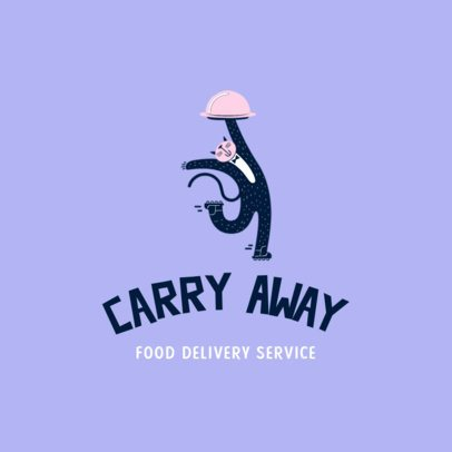 Logo Creator for a Food Delivery App Featuring a Cat Waiter 3298k