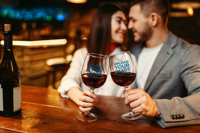 Wine Glass Mockup of a Romantic Couple at a Restaurant 36469-r-el2