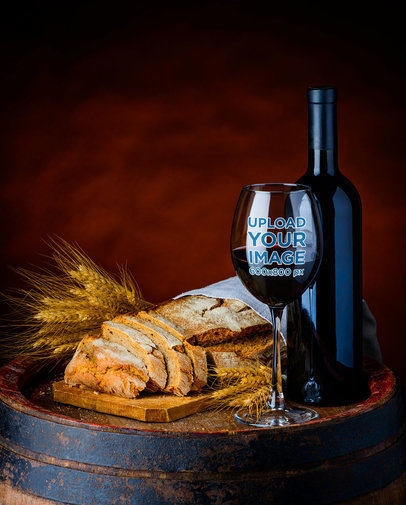 Mockup of a Wine Glass Next to Bread Slices 36599-r-el2
